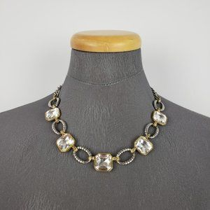 Gold & Silver Square Cut Glass Necklace